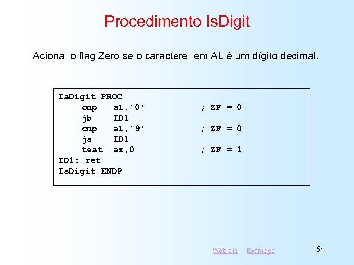 Procedimento Is. Digit Aciona o flag Zero se o caractere em AL é um