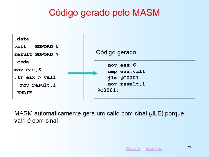 Código gerado pelo MASM. data val 1 SDWORD 5 result SDWORD ? . code
