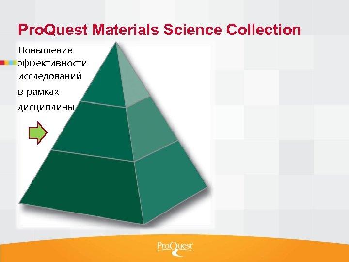 Pro. Quest Materials Science Collection Повышение эффективности исследований в рамках дисциплины