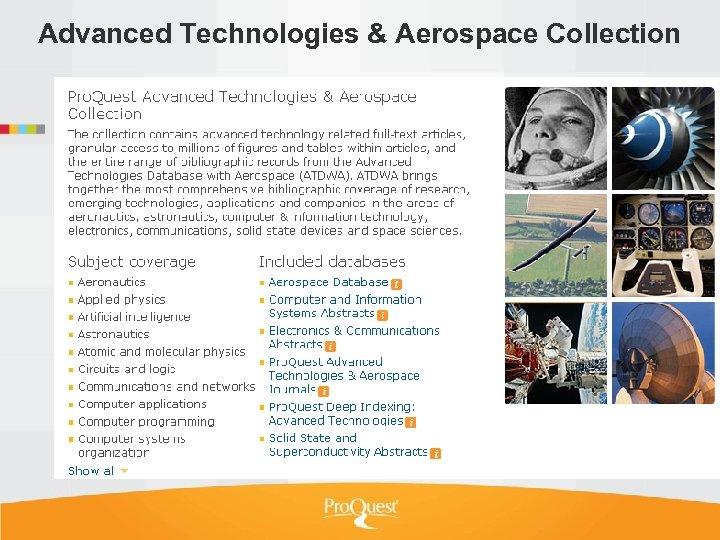 Advanced Technologies & Aerospace Collection