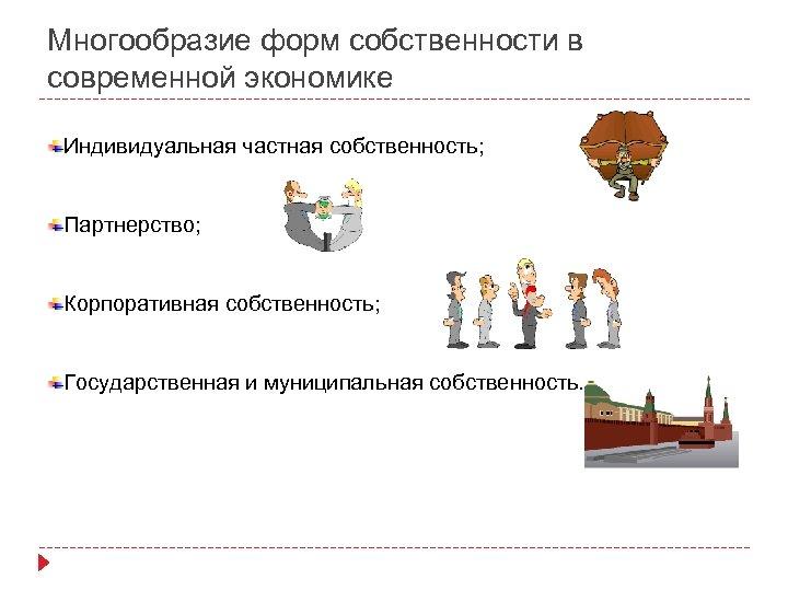 Многообразие форм собственности в современной экономике Индивидуальная частная собственность; Партнерство; Корпоративная собственность; Государственная и
