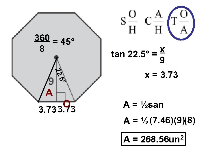360 = 45° 8 x tan 22. 5° = 9 ° 5 22. x