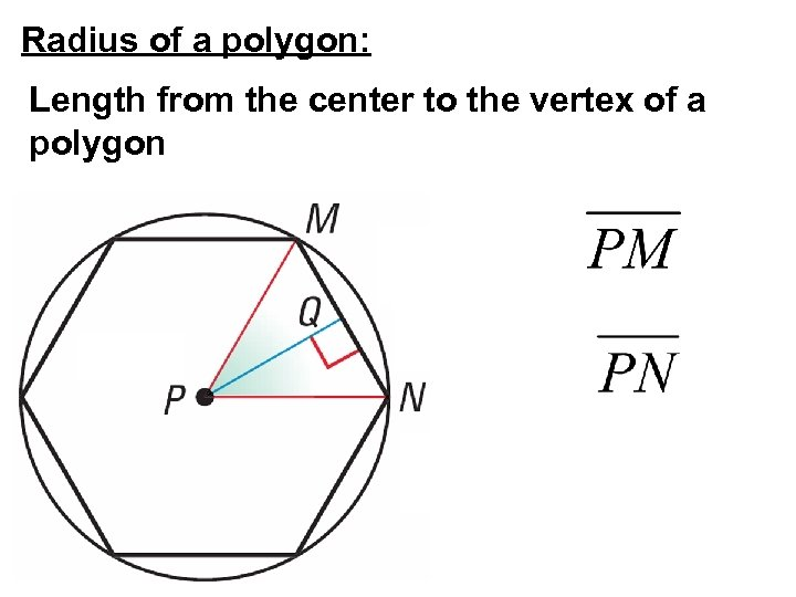 Radius of a polygon: Length from the center to the vertex of a polygon