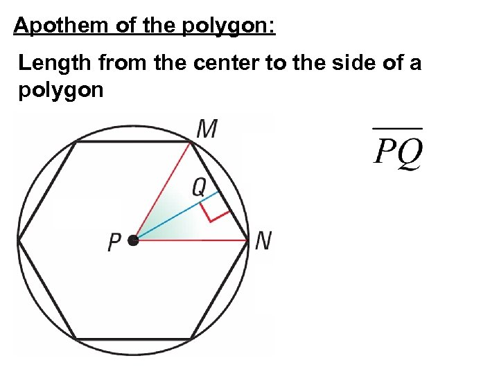 Apothem of the polygon: Length from the center to the side of a polygon