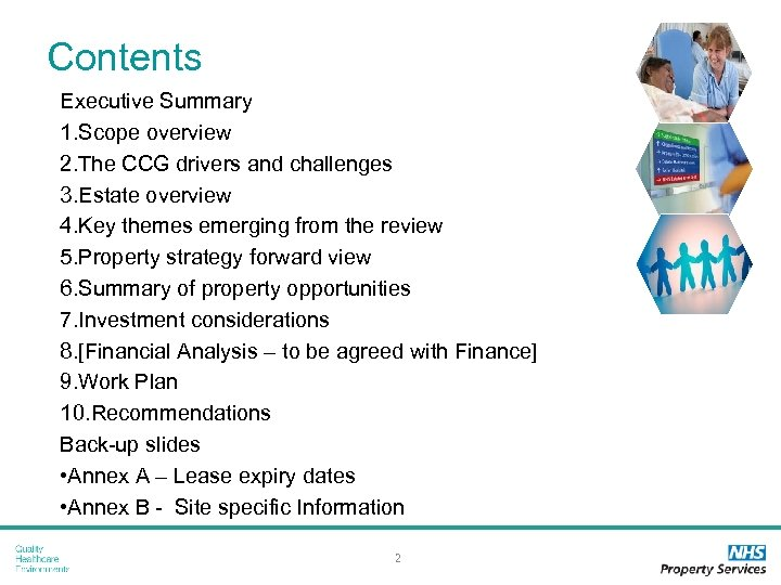 Contents Executive Summary 1. Scope overview 2. The CCG drivers and challenges 3. Estate
