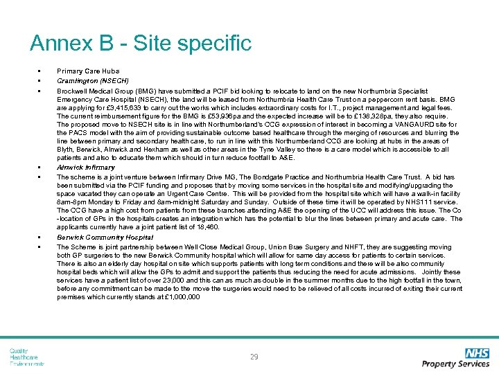 Annex B - Site specific • • Primary Care Hubs Cramlington (NSECH) Brockwell Medical