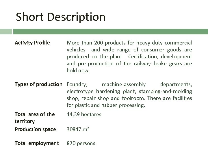 Short Description Activity Profile More than 200 products for heavy-duty commercial vehicles and wide