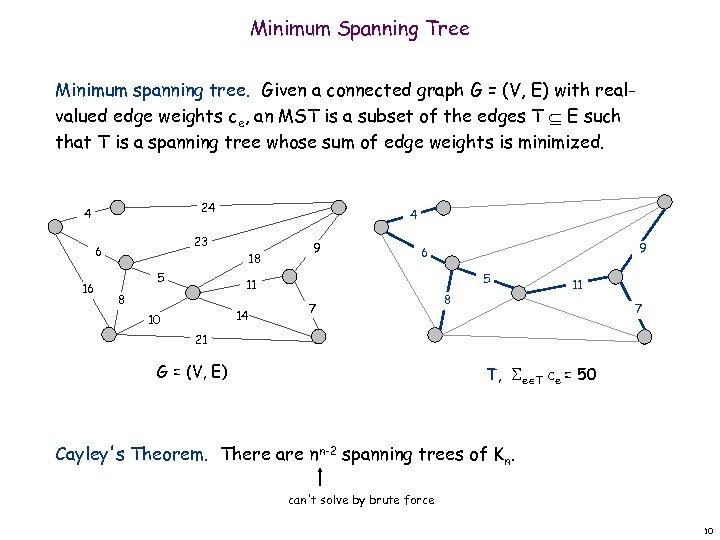 Minimum Spanning Tree Minimum spanning tree. Given a connected graph G = (V, E)