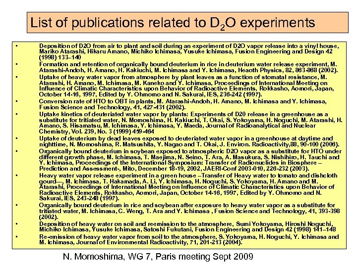 List of publications related to D 2 O experiments • • • Deposition of