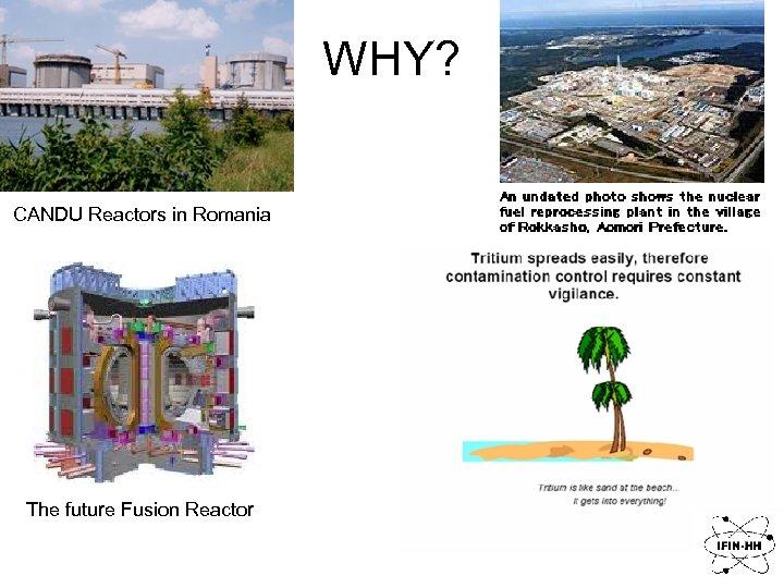 WHY? CANDU Reactors in Romania The future Fusion Reactor