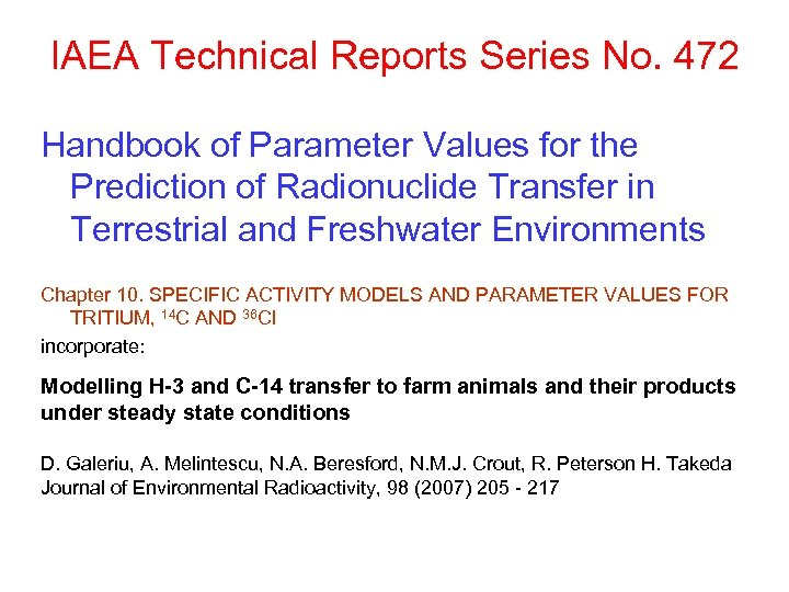 IAEA Technical Reports Series No. 472 Handbook of Parameter Values for the Prediction of