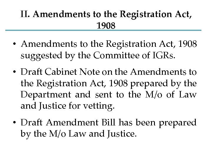 II. Amendments to the Registration Act, 1908 • Amendments to the Registration Act, 1908