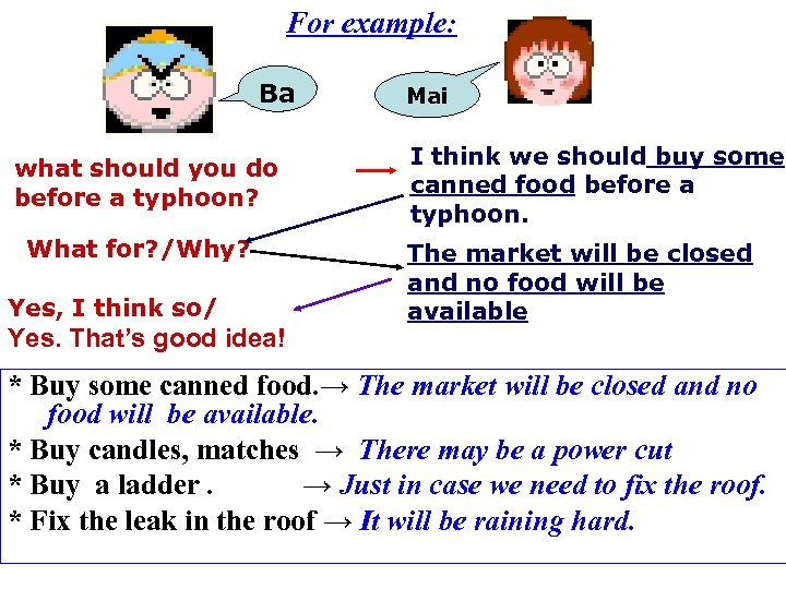 For example: Ba what should you do before a typhoon? What for? /Why? Yes,