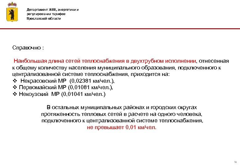 Департамент ЖКХ, энергетики и регулирования тарифов Ярославской области Справочно : Наибольшая длина сетей теплоснабжения
