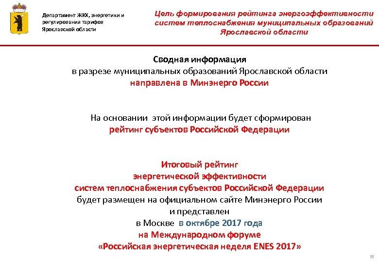 Департамент ЖКХ, энергетики и регулирования тарифов Ярославской области Цель формирования рейтинга энергоэффективности систем теплоснабжения