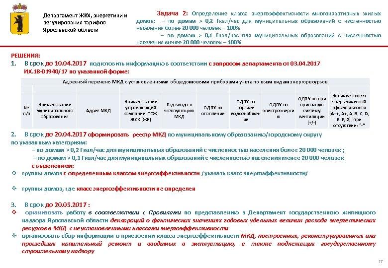 Департамент ЖКХ, энергетики и регулирования тарифов Ярославской области Задача 2: Определение класса энергоэффективности многоквартирных