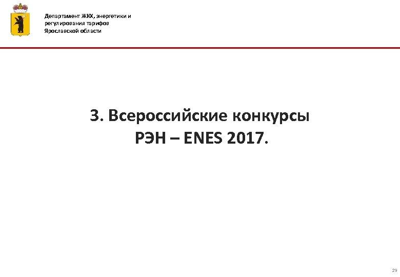 Департамент ЖКХ, энергетики и регулирования тарифов Ярославской области 3. Всероссийские конкурсы РЭН – ENES