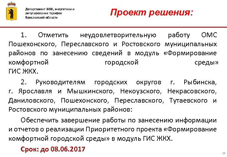 Департамент ЖКХ, энергетики и регулирования тарифов Ярославской области ПРОЕКТ РЕШЕНИЯ Проект решения: 1. Отметить