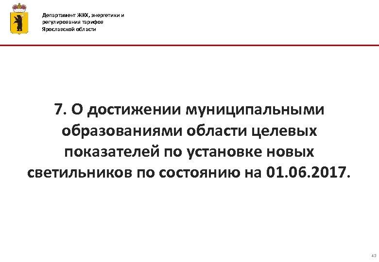 Департамент ЖКХ, энергетики и регулирования тарифов Ярославской области 7. О достижении муниципальными образованиями области