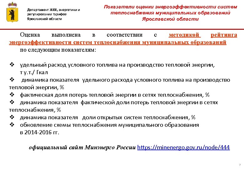 Департамент ЖКХ, энергетики и регулирования тарифов Ярославской области Показатели оценки энергоэффективности систем теплоснабжения муниципальных
