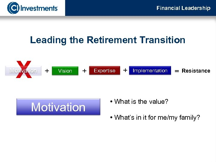 Financial Leadership Leading the Retirement Transition X Motivation + Vision + Motivation Expertise +