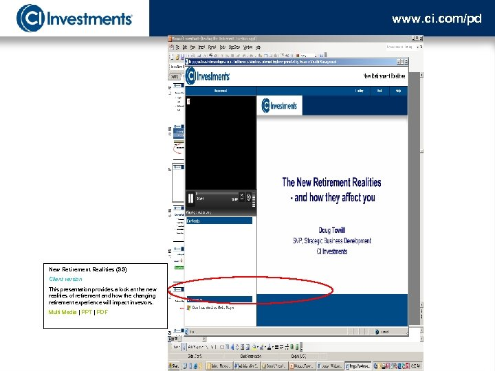 www. ci. com/pd New Retirement Realities (SS) Client version This presentation provides a look