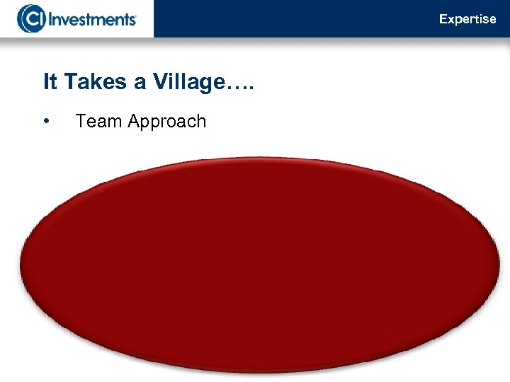 Expertise It Takes a Village…. • Team Approach