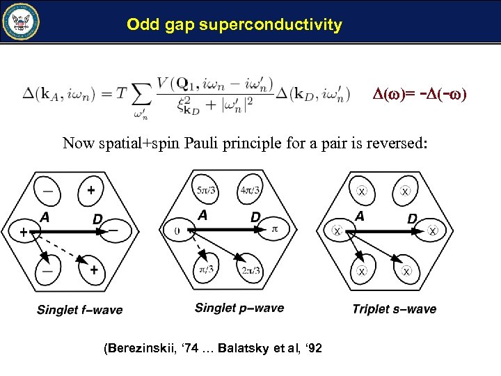 Odd gap superconductivity ( )= - (- ) Now spatial+spin Pauli principle for a