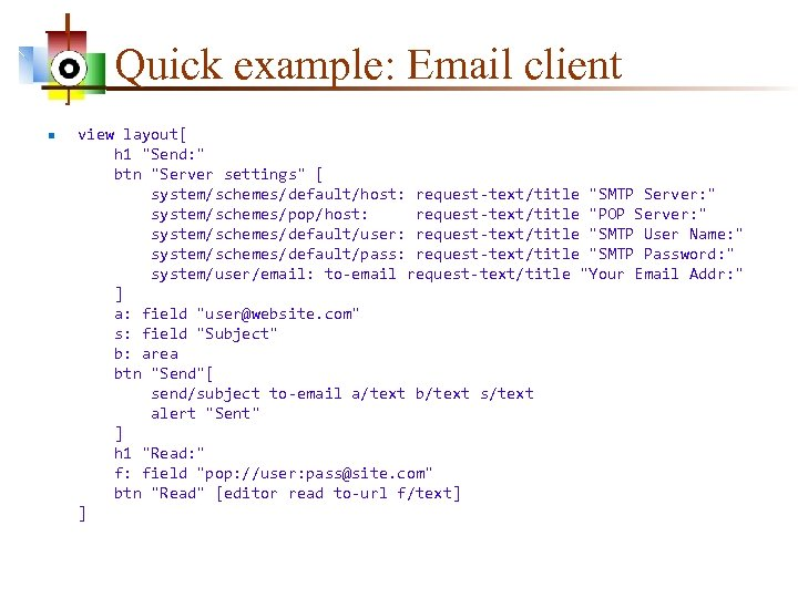 Quick example: Email client n view layout[ h 1