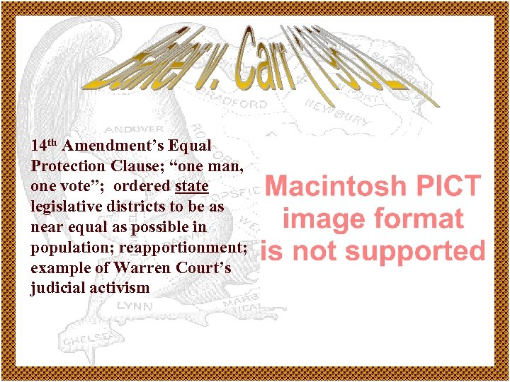 "14 th Amendment's Equal Protection Clause; ""one man, one vote""; ordered state legislative districts"