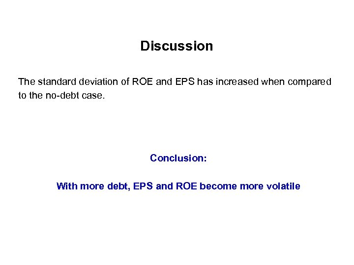 Discussion The standard deviation of ROE and EPS has increased when compared to the