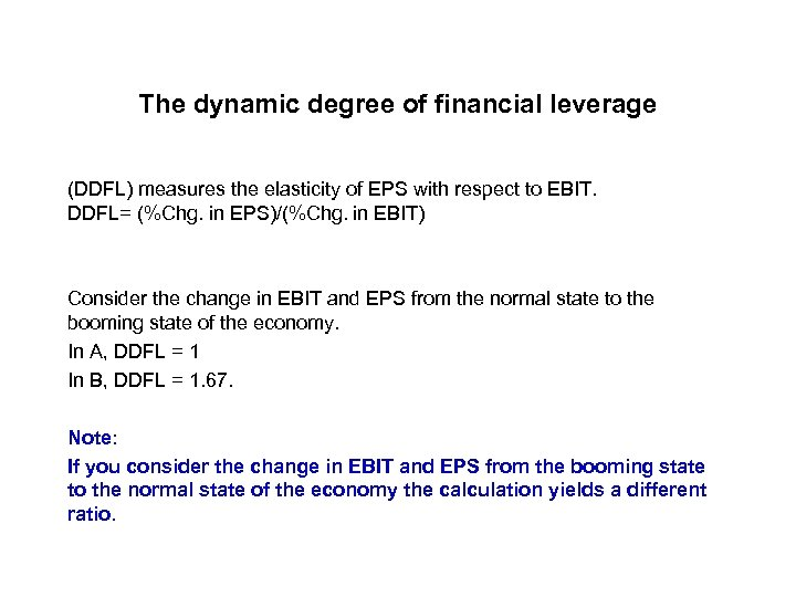 The dynamic degree of financial leverage (DDFL) measures the elasticity of EPS with respect
