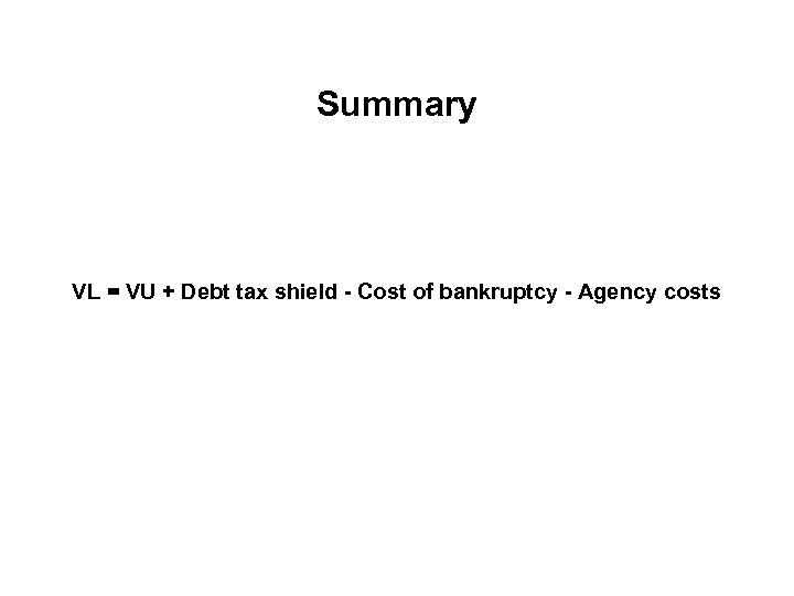 Summary VL = VU + Debt tax shield - Cost of bankruptcy - Agency