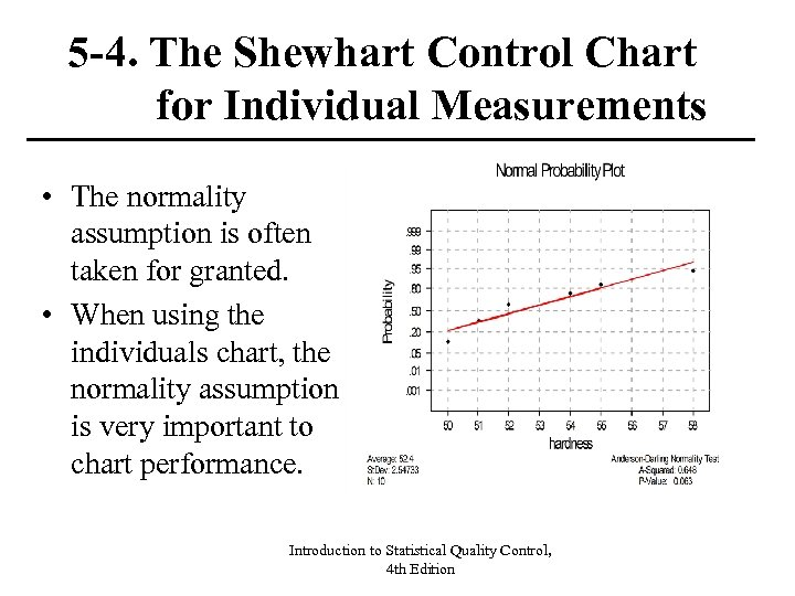 5 -4. The Shewhart Control Chart for Individual Measurements • The normality assumption is