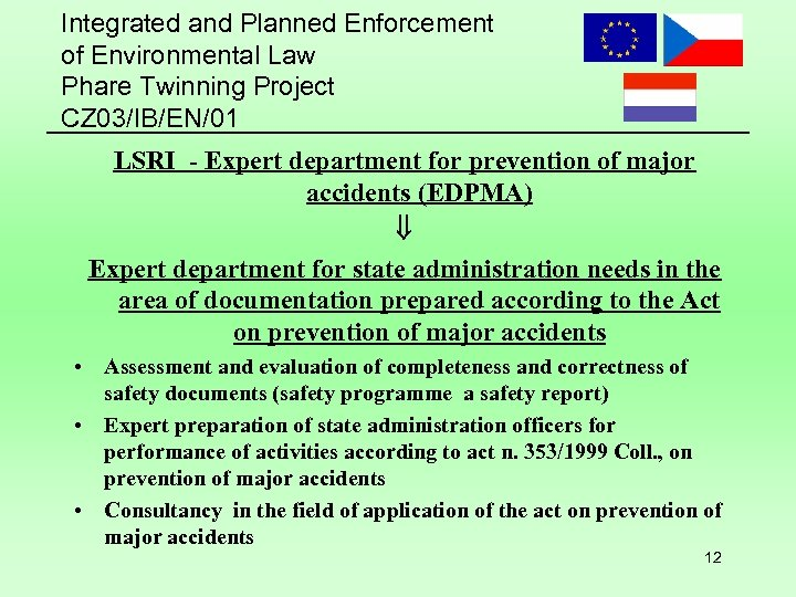 Integrated and Planned Enforcement of Environmental Law Phare Twinning Project CZ 03/IB/EN/01 LSRI -
