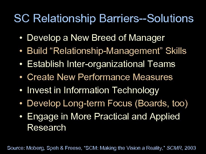 "SC Relationship Barriers--Solutions • • Develop a New Breed of Manager Build ""Relationship-Management"" Skills"