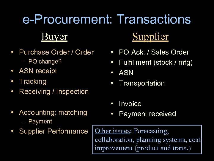 e-Procurement: Transactions Buyer • Purchase Order / Order – PO change? • ASN receipt
