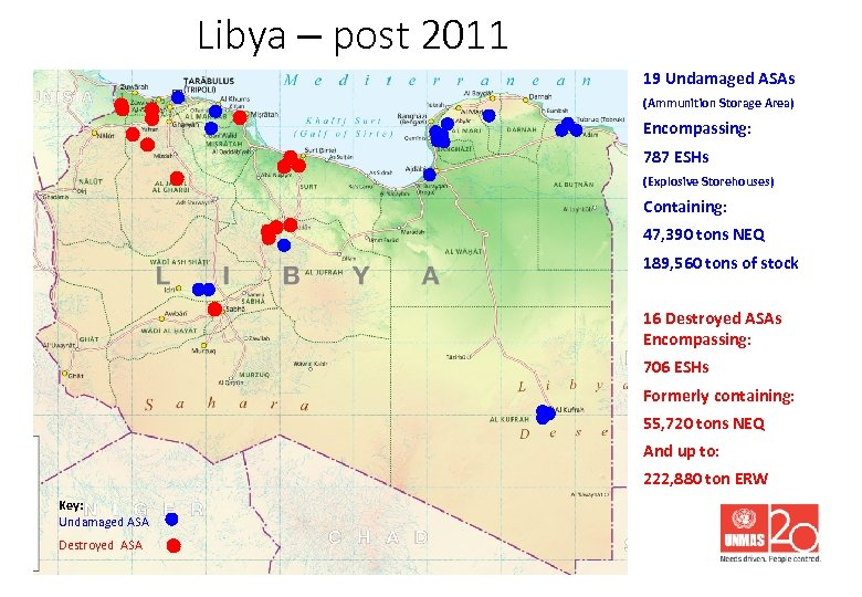 Libya – post 2011 19 Undamaged ASAs (Ammunition Storage Area) Encompassing: 787 ESHs (Explosive