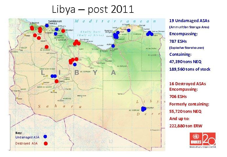 Libya – post 2011 19 Undamaged ASAs (Ammunition Storage Area) Encompassing: 787 ESHs (Explosive