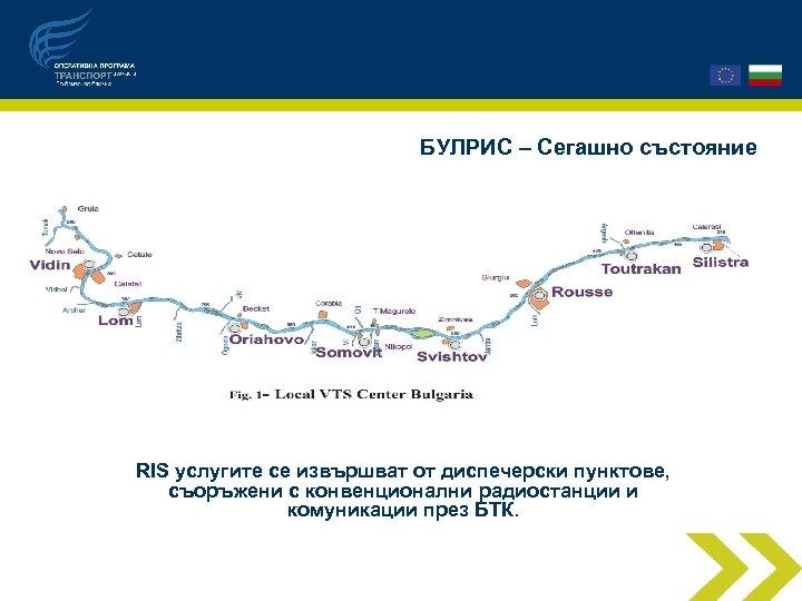 БУЛРИС – Сегашно състояние RIS услугите се извършват от диспечерски пунктове, съоръжени с конвенционални