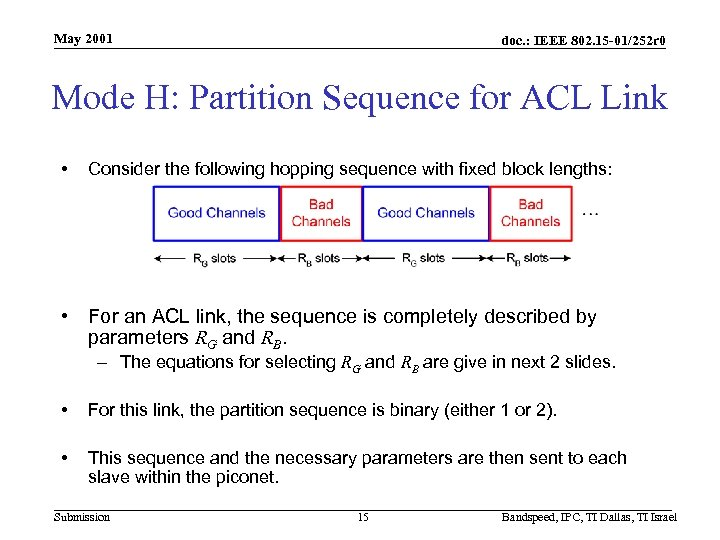 May 2001 doc. : IEEE 802. 15 -01/252 r 0 Mode H: Partition Sequence