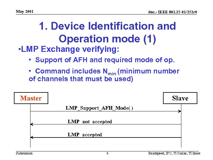 May 2001 doc. : IEEE 802. 15 -01/252 r 0 1. Device Identification and