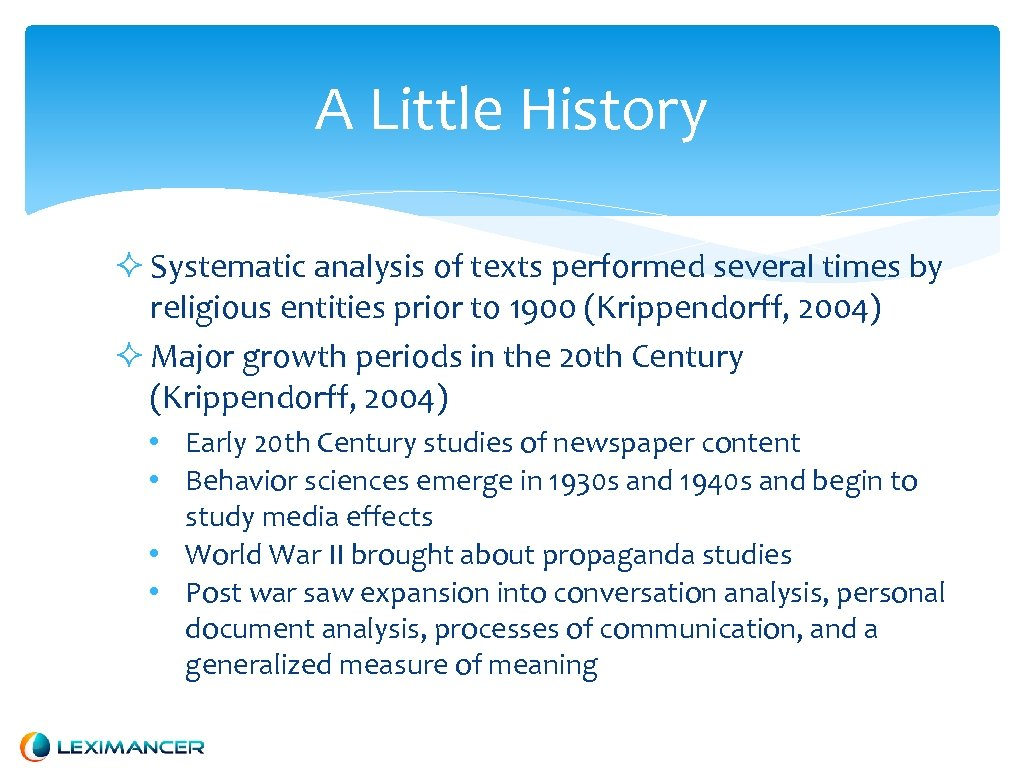 A Little History Systematic analysis of texts performed several times by religious entities prior
