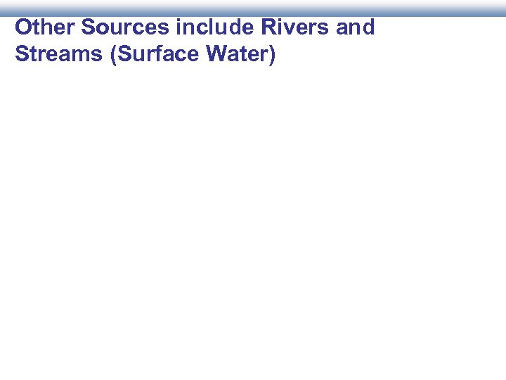 Other Sources include Rivers and Streams (Surface Water)