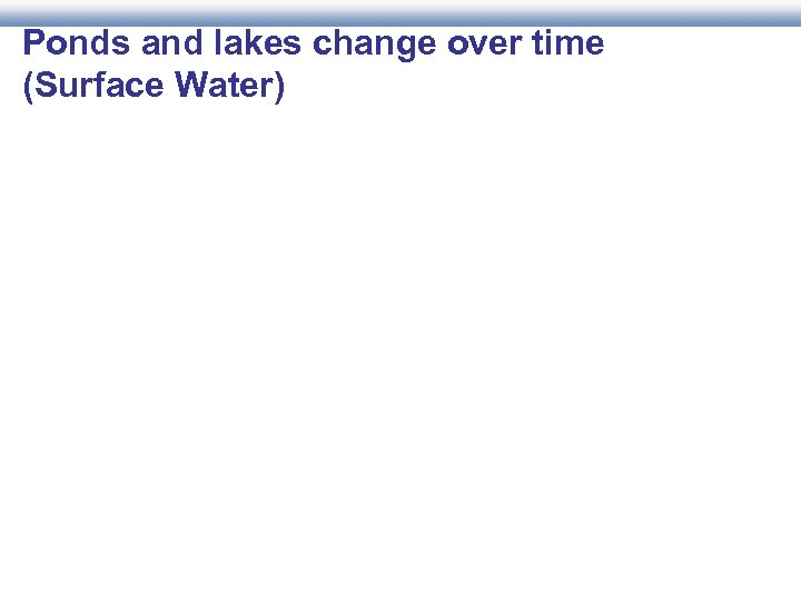 Ponds and lakes change over time (Surface Water)