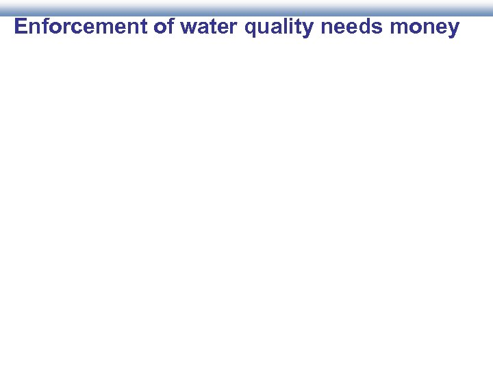 Enforcement of water quality needs money