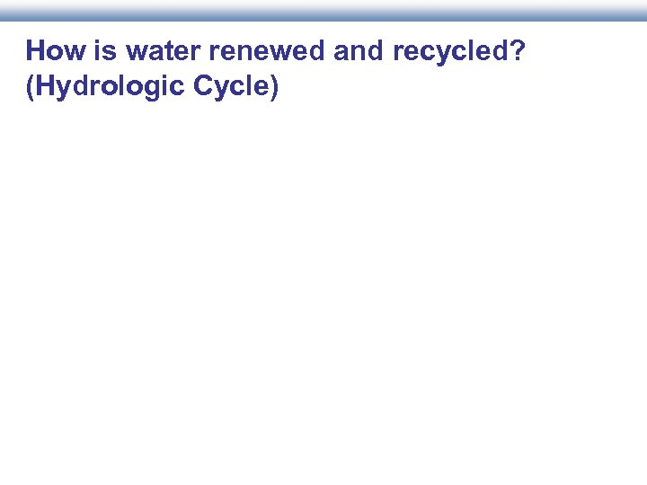 How is water renewed and recycled? (Hydrologic Cycle)