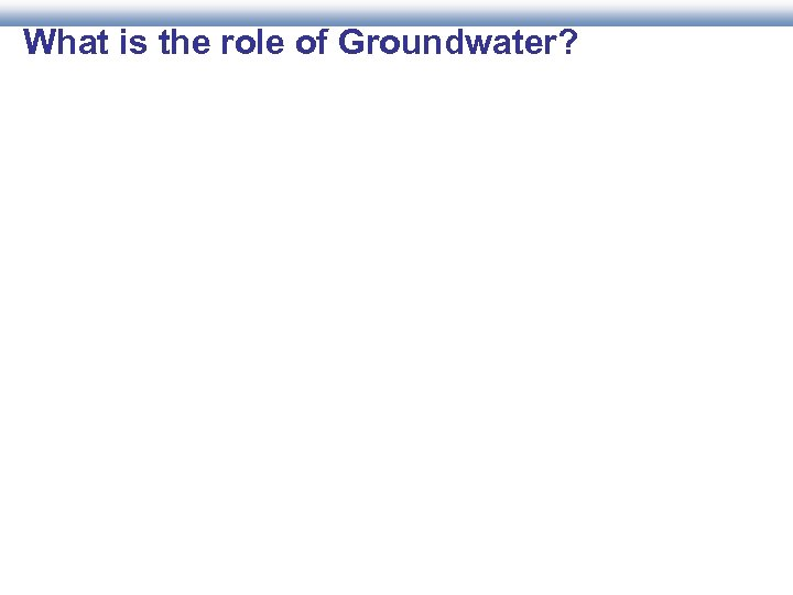 What is the role of Groundwater?