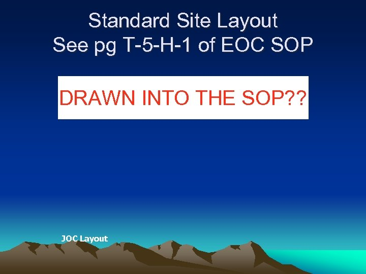 Standard Site Layout See pg T-5 -H-1 of EOC SOP DRAWN INTO THE SOP?