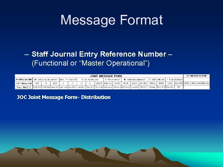 "Message Format – Staff Journal Entry Reference Number – (Functional or ""Master Operational"") JOC"